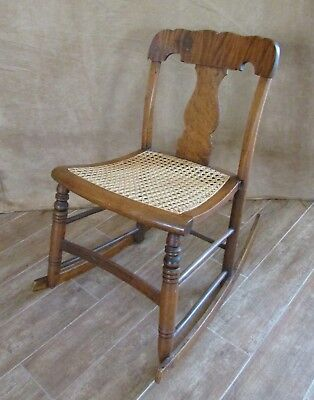 SMALL MAPLE CANE Antique Rocking Chair bedroom nursery furniture ...