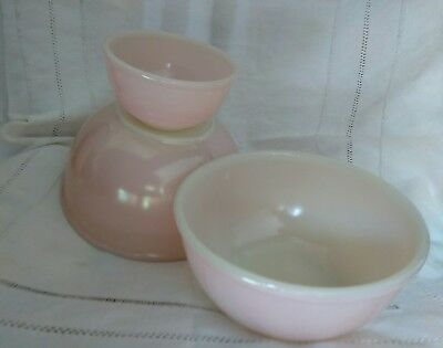 3 VINTAGE FIRE KING PINK MIXING BOWL, BOWLS rare beaded edge