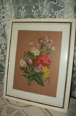 COTTAGE PINK CHIC 30s FLORAL POPPIES PRINT WHITE BLACK FRAME SHABBY ART DECO ERA