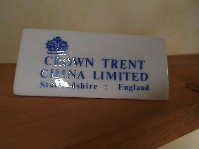 Vintage Porcelain Crown Trent China Ltd. Staffordshire Counter Store Sign