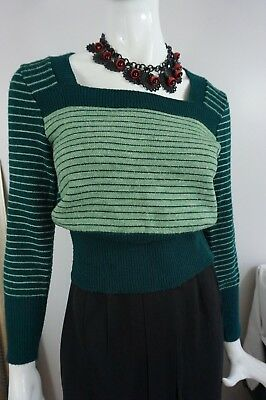 70s Does The 30s ~CUTE~ Vintage Green Striped Sweater w/ Square Neckline, Ribbed