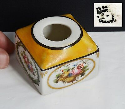 Antique Hand Painted Ceramic / China LIMOGES Pin Pot - 5 x 5 x 4 cms. Yellow