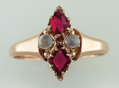 Vintage Antique 1.20ct Ruby & Moonstone 14K Yellow Gold Victorian Cocktail Ring