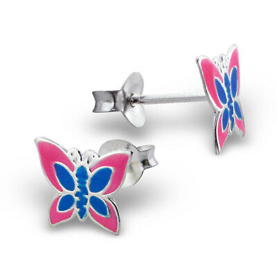 Girls CHILDRENS Sterling Silver PURPLE Pink Butterfly Stud Earrings Gift Boxed