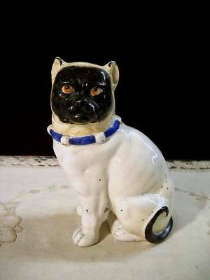 Antique 1800s European Black Faced Pug Dog Seated Figurine Bell Collar German?