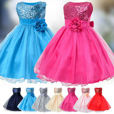 Kid Baby Flower Girls Sequins Tulle Tutu Princess Party Wedding Bridesmaid Dress
