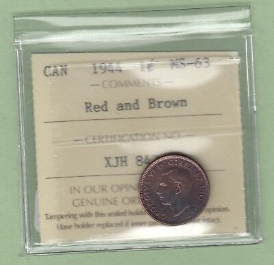 1944 Canadian One Cent Coin - ICCS Graded MS-63