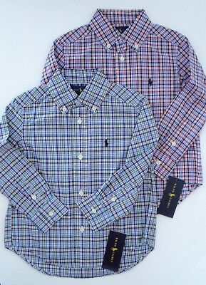 NWT Ralph Lauren Boys L/S Plaid Cotton Poplin Dress Shirt Sz 2/2t 24m NEW $40