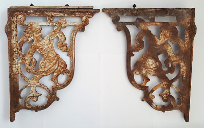 Cast iron cherub shelf brackets, pair, Victorian reclaimed architectural salvage