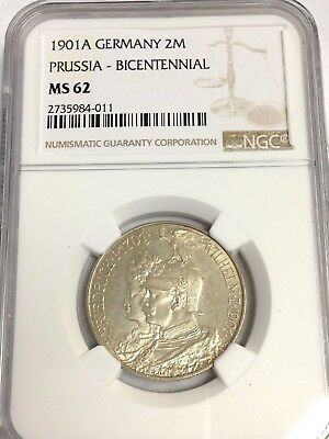 1901-A Germany 2 Marks, Prussia Bi-Centennial, NGC MS-62