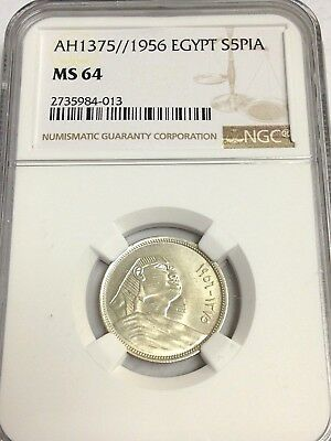 1956 (AH 1375) Egypt 5 Piastres silver, Sphinx, NGC MS-64