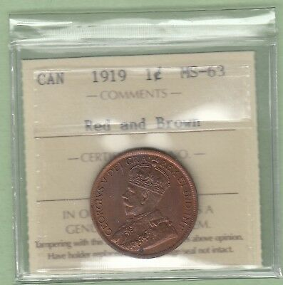 1919 Canadian Large One Cent Coin - ICCS Graded MS-63
