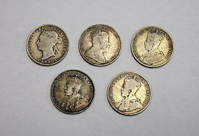Lot of 5 Circulated Canadian 92.5% Silver 25 Cents