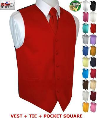 Men's Satin Formal Tuxedo Vest Tie & Hankie Set. Wedding, Prom, Cruise, Dress