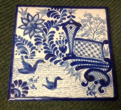 Beautiful vintage hand-painted terra-cotta blue & white swan scene tile Signed