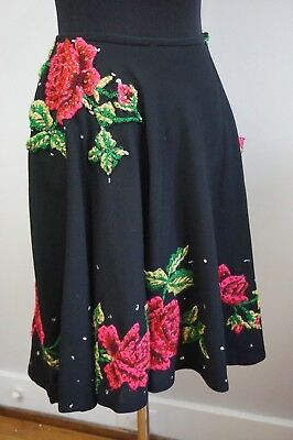 40s 50s Handmade Full Skirt w/ Bright Embroidered & Sequined Flowers VLV ~Pin Up