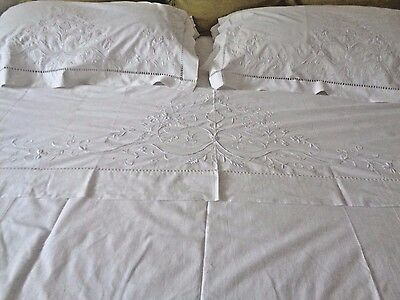 Rare Antique Three Piece White linen Trousseau Bed sheet French