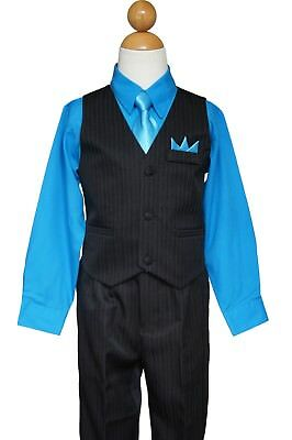 Pinstripe Boys Easter, Recital, Vest Suit Set, Turquoise/Black,Size: 2T to 14