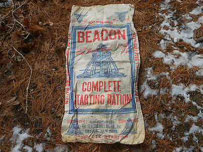 Old Beacon Complete Starting Ration Cloth Feed Bag Sack 100 Lb
