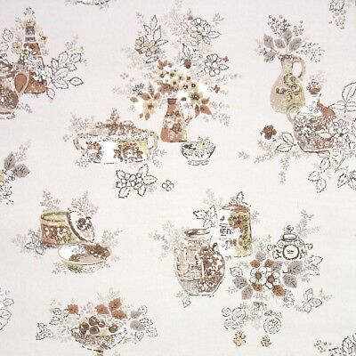 1950s Kitchen Vintage Wallpaper Brown Flowers And Jugs With Gold Silver Metallic