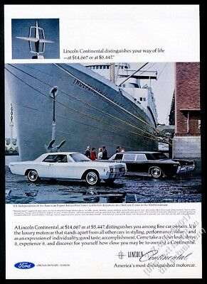 1966 Lincoln Continental limousine limo and Coupe car photo vintage print ad