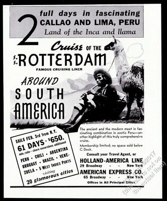 1937 llama photo Holland-America Line SS Rotterdam ship travel vintage print ad