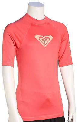Roxy Girl's Whole Hearted SS Rash Guard - Rouge Red - New