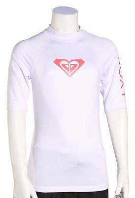 Roxy Girl's Whole Hearted SS Rash Guard - White / Pink - New