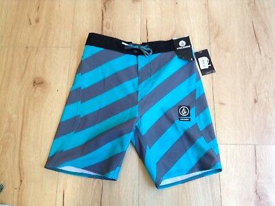 Volcom toddler boys blue striped board shorts, size 7- NEW