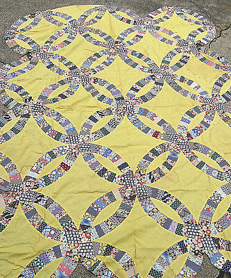 Vintage Antique Quilt Top Double Wedding Ring  Pattern  All Cotton All Hand Done