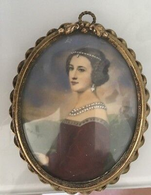 Fine Antique  Miniature Portrait in French Oval Bronze Frame