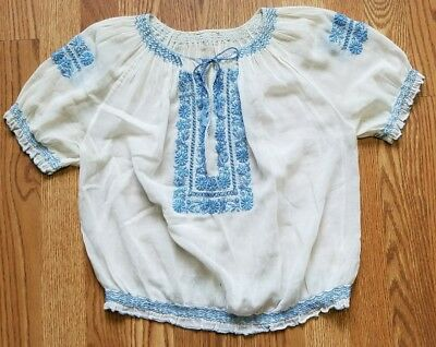 Vintage Romanian White w/ Blue Embroidery and Smocking Blouse 1960s size small
