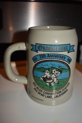 GERZ W. Germany OKTOBERFEST 20th ANNIVERSARY 1990 0.5L Mug/Stein BIG BEAR LAKE
