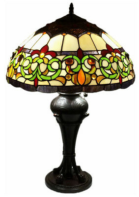 "Tiffany Style Stained Glass 18"" Wide Table Lamp ""Baroque"" - FREE SHIP IN USA"