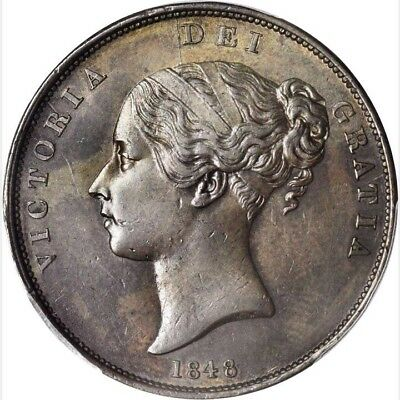 Great Britain Victoria 1848/6 Penny Coin Almost Uncirculated Certified Pcgs Au58