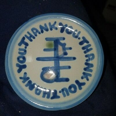 """MA Hadley Pottery Thank You Round Trinket Tip Dish Plate 4"""" Coaster Music Note"""