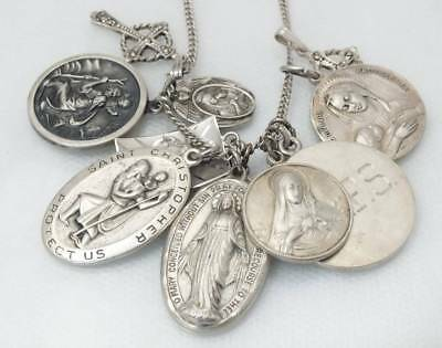 Antique Vtg Sterling Silver Religious Charm Medals Pendant Necklace Jesus Cross