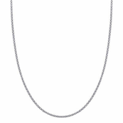 Antique Finish Italian 925 Sterling Silver 2.5mm Popcorn Chain Necklace