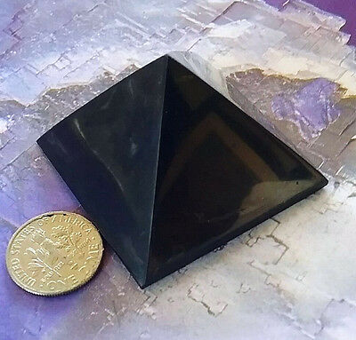 "Medium 2.25"" SHUNGITE  CRYSTAL Polished Healing Pyramid From Russia, Reiki"