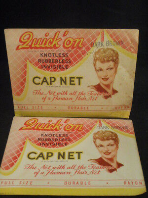 Vintage Womens Quick On Invisible Rayon Hair Cap Net Nos Usa N.y. Advertising