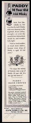 1960 Paddy Irish Whiskey bottle & Ireland map art vintage print ad