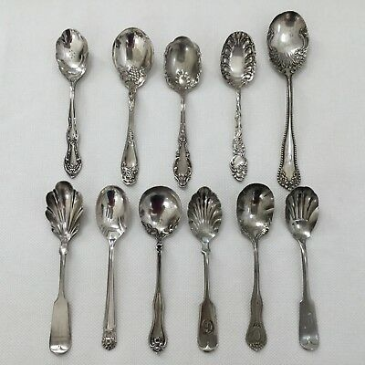 Vtg Mixed Lot Of 11 Silverplate Sugar Spoons Shell Crafts Use