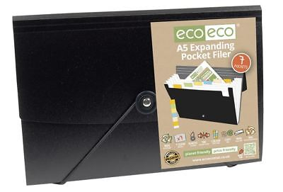 12 x eco-eco A5 50% Recycled 7 Pocket Expanding Black Accordion File + Tabs