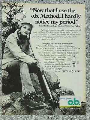 1978 o.b. Tampons Vintage Ad Page Cute Girl College Student Forest Fire Fighter