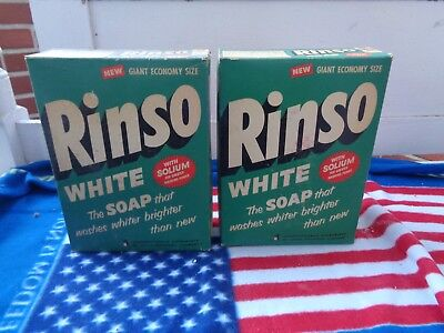 Vintage Lot Of 2 Unopened Box Of Rinso White Soap Detergent Advertising Box
