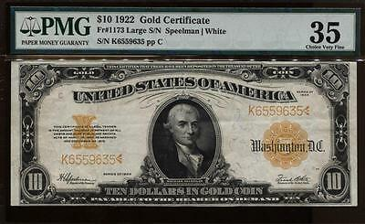 1922 $10 Gold Certificate Large Vibrant Color Note Pmg 35 Ch Very Fine #fr1173