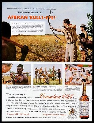 1956 Fred Bear photo bowhunting bow hunting Africa Canadian Club whisky print ad