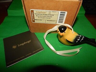 NIB Longaberger Collectors Club Backyard Bird Collection Ornament GOLDFINCH (A4)