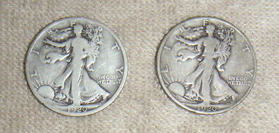 2 United States 90% Silver Walking Liberty Half Dollars Halves 1920-D & 1920-S