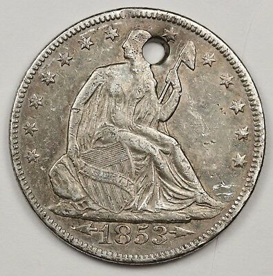 1853 Seated Liberty Half.  With Arrows.  X.F. Detail.  Holed.  120427
